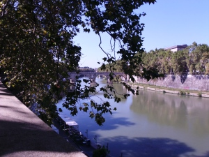 Along the banks of the Tiber River