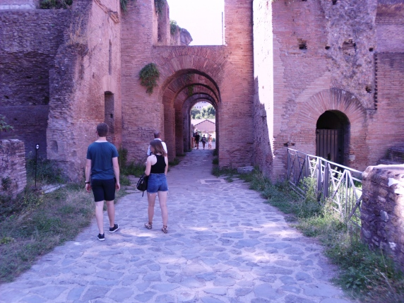 The Kids walking ahead in Rome