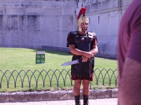 Gladiator standing guard - better not step on the grass!