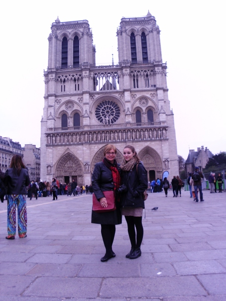 Katie and I in front of Notre Dame Cathedral, Paris