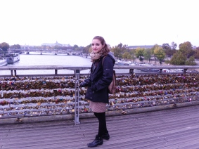 Katie on the famous Lock bridge, Paris, France