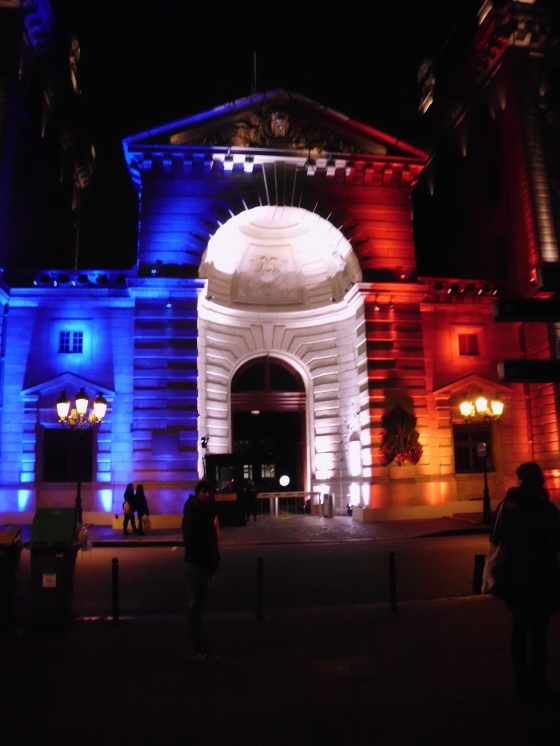 Paris building lit up after Paris attacks, December 2015