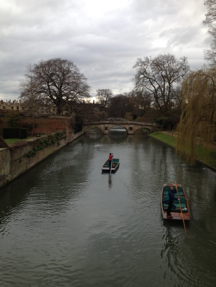 Punting on a canal in Cambridge