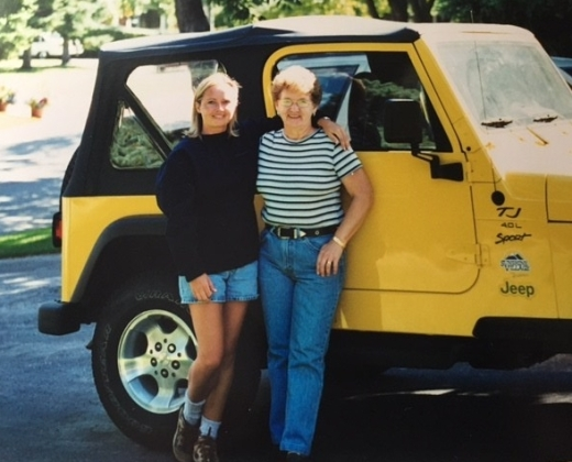 Sherry and Mom and her yellow Jeep